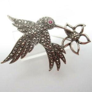 vintage signed hummingbird humming bird brooch pin